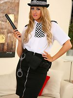 Beautiful Stephanie poses as a policewoman before stripping to reveal her bodystocking