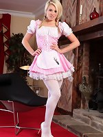 Cute blonde teases her way out of her little miss muffet outfit.