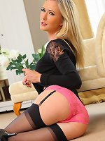 Blonde Sam T in pink lingerie
